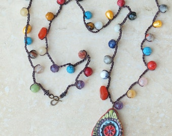 Boho Necklace Crochet Necklace Beaded Necklace Tile Pendant Colorful Necklace Pottery Necklace Semiprecious Stones Jewlery Gift for Her 30in