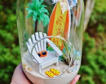 Beach Terrarium Kit ~ Medium Bullet Air Plant Terrarium Kit ~ Coastal Living Beach Decor ~ Adirondack Chair ~ Surfboard ~ Palm tree ~ Gift