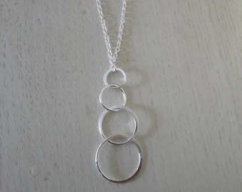 Necklace 4 circles 925 Sterling Silver