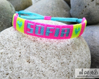 Name Bracelet, Personalized Friendship Bracelet, Children Bracelets, Anklet  Bracelet, Mexican Bracelet,