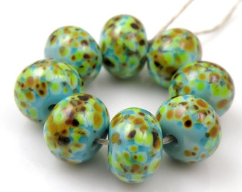 Fernando SRA Lampwork Handmade Artisan Glass Donut/Round Beads Made to Order Set of 8 8x12mm