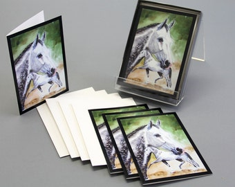 Note card Grey horse watercolor Painting Grey Prospect by Kristine Plum in quantities of 4, 6, or 12
