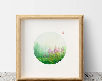 D120 Summer Silver Star Wildflowers watercolor painting, circle art, Canadian landscape painting,green forest painting,mountain art