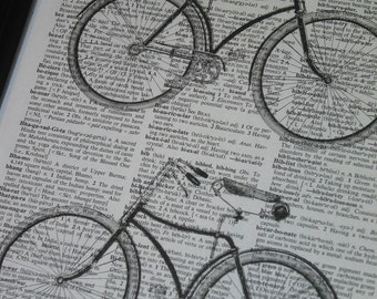 Bicycles Upcycle Print Wall Art on a Vintage Dictionary Book Page 8 x 10