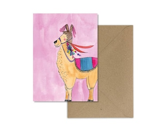 Llama Art//Llama Card//Birthday Card//Llama Birthday Card//Paper & Party Supplies//Llama Gifts//Card for Children//Kids Birthday Card/Alpaca
