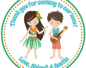 Luau Birthday Party Favor Tags - Twins/Siblings / Luau Favors - Luau Party Favors - Luau Siblings Birthday Favors