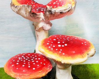 The Curled Up Mushroom - realistic beautiful Fly Agaric Amanita hand painted sculpture