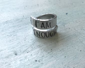 I am Enough. Ring. Wrap Ring. Adjustable ring. Engraved Ring.  Gift for her. Inspirational gift.