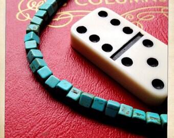 "cube square turquoise gemstone beads 15"" strand"