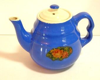Blue Stoneware Teapot, Vintage Cottage, Farmhouse Teapot, 1940s