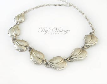 Vintage Silver Tone Leaf Necklace / Choker Jewelry Jewellery