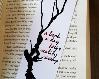 Watercolor Bookmark A book a day keeps reality away, Quote Bookmark, Paper Bookmark, Bookworm Gift, Reader Gift, Book Accessories, Bookmarks