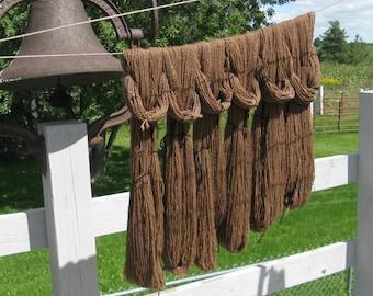 Alpaca and Wool Yarn, Farm Grown, Mill Spun, 250 yards, Brown Sport / DK Weight for Knitting, Crochet, Weaving, Felting