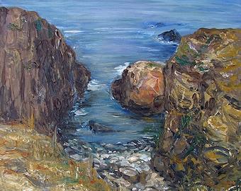 Original Acrylic Painting On Canvas Of A Sea Landscape, Size 30 cm x 40 cm