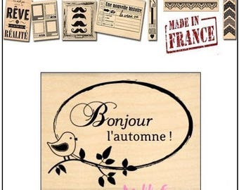 """Stamp wood """"Hello"""" Autumn """"Design""""made in France""""Miscellany scrapbooking card making *"""""""