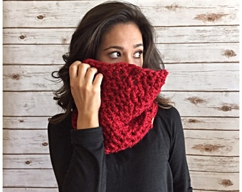 Cherry Red Textured Cowl Neck Cozy, Crochet Oversized Cowl, Circle Scarf