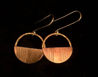 Hammered brass and copper leaf imprint earrings
