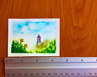 ORIGINAL ACEO watercolor painting | Lighthouse in Spring