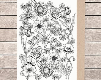 A5 floral card, A5 card, A5 greeting card, illustrated card, blank card, card and envelope
