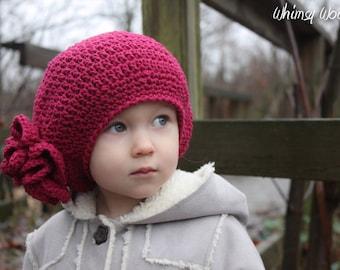Crochet Hat Pattern: 'Raspberry Beret', Crochet Hat, Crochet Flower, Toddler, Child & Adult