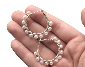 Pearl Earrings, Silver Pearl Hoops