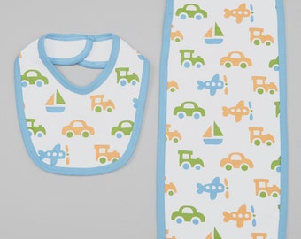 Trains, Planes, and Cars Bib and Burp-cloth Set