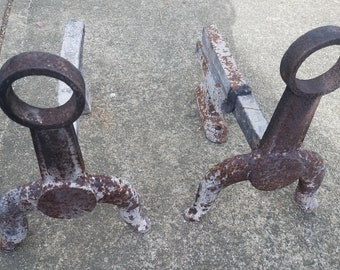Pair of Primitive Cast Iron Fireplace Andiron Firedogs Log Holders with Top Rings/Rustic/Country/Fireplace Decoration