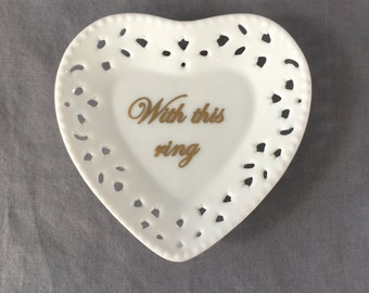 "Miniature Heart Ring Bearer Tray ""With this ring"" 24kt"