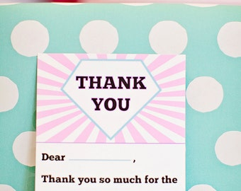 DIY Printable Thank You Card - Girl Superhero Party