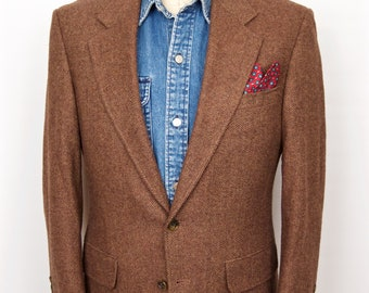 Lands' End Tweed Sport Coat / vintage brown herringbone wool suit jacket / men's small