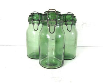 """1 large, 1 litre, canning jar, green glass, """"Durfor"""" French vintage, kitchen canisters, French country decor, French chic."""