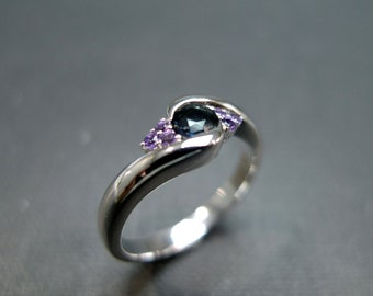 gifts for her, stocking stufferBlue Sapphire with Amethyst Engagement Ring in 14K White Gold