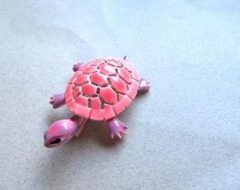 JJ Turtle Pin Vintage Brooch Psychedelic Enameled Pink Purple 1960s Costume Jewelry Figural Tortoise MoonlightMartini
