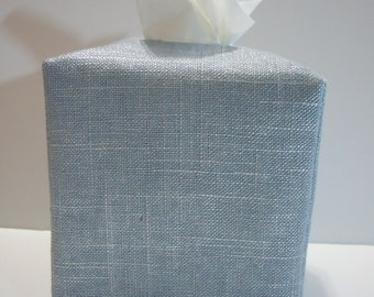 Ready To Ship -  Glacial Metallic Linen  -  Fabric Tissue Box Cover