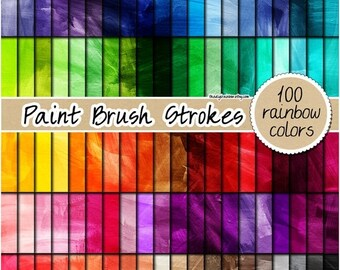 SALE 100 watercolor digital paper painted digital paper paint strokes texture rainbow watercolor print 12x12 pastel neutral bright dark