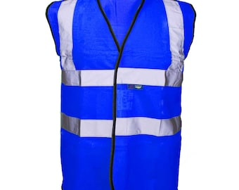 Blue Hi Visibility Reflective Safety Vest Hi Viz Ideal for Printing or Embroidery Great for Riding Walking or Running