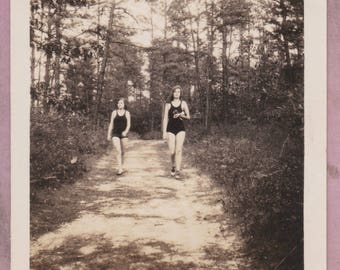 Vintage Photo, Lifeguard and Friend Walk on a Sandy Path in the Woods, Forest, Girls, Teens, Summer, Bathing Suits, Vernacular, Pine Trees