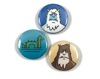 Catch and Release Yeti Nessie Bigfoot Cryptid 1 Inch Button Series