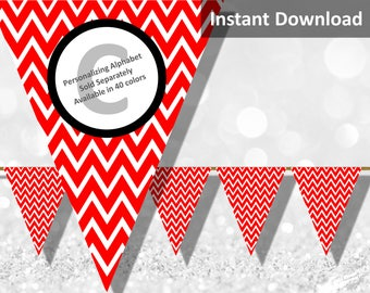 Red Chevron Bunting Pennant Banner Instant Download, Party Decorations
