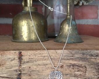 "Sterling Silver Open Angel Wings Necklace - 18"""