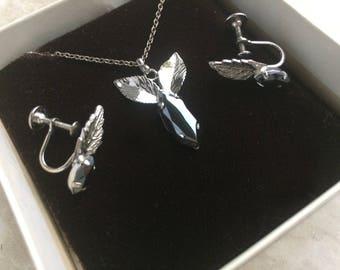 Vintage Marquise Hematite Titan Sterling Silver Flower Bud Necklace Screw Back Earrings