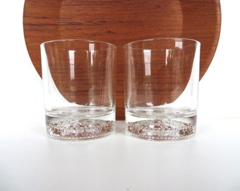 Amazing Set Of 2 Crown Royal Canadian Whiskey Glasses, Vintage Embossed Crown Glass  Barware, Vintage