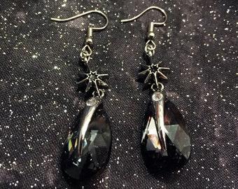 Swarovski spiked drop earrings, black, jewelry
