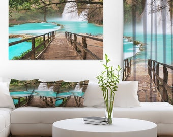 Stairway into Beautiful Waterfall in Landscape Canvas Art Print and Landscape Metal Wall Art  (PT12261)