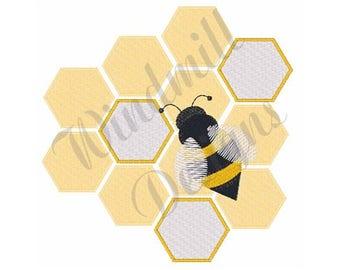 Honeybee & Honeycomb - Machine Embroidery Design