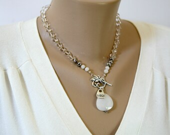Snowy White Malay Jade and Clear Czech Glass Front Closure Knotted Necklace