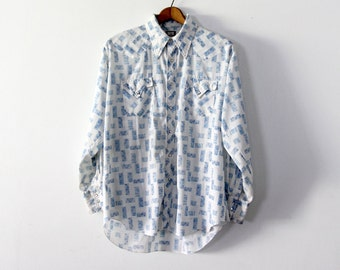 RESERVE vintage men's western shirt,  blue and white snap up