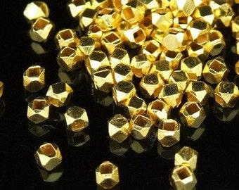 KG-054 thai karen hill tribes silver 50 gold vermeil small facet bead