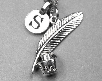 Small Ink pot & Quill Charm Necklace 3D silver plated pewter, initial necklace, initial hand stamped, personalized, monogram