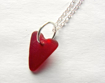 Sea glass heart necklace, red sea glass heart, red heart, beach necklace, sea glass jewelry, heart pendant